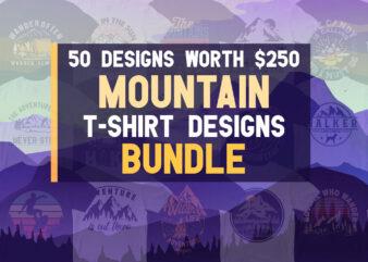 50 Mountain Hill Adventure Camping Biking Hiking T-shirt Designs Bundle