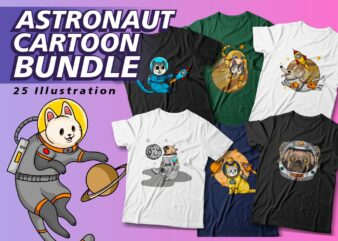 Animals Astronaut cartoon bundle, Cartoon t shirt design, Astronaut t shirt design, Illustration, Cute, Funny, Cool, Vector t shirt design, SVG,