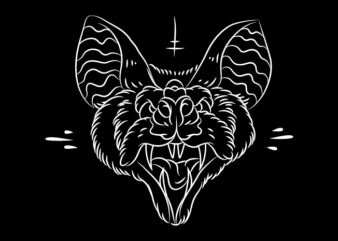 Line Art Bat Illustration