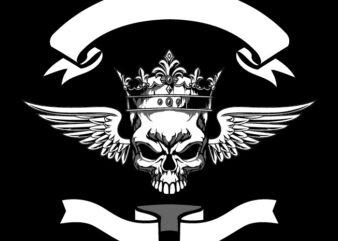 Skull With Crown Bikers Badge