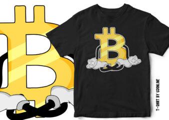 Bitcoin Doing Yoga – Cryptocurrency Bitcoin T-Shirt Design