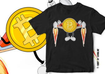 Bitcoin Going to the Moon – Cryptocurrency T-Shirt Design – Bitcoin Rocket Vector