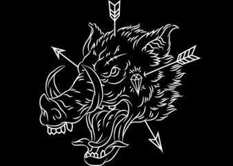Boar Head Line Art