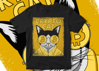 Crypto Cat – Bitcoin Cat – Crypto Currency T-Shirt Design