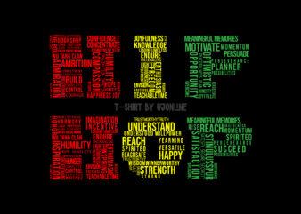 HipHop – Hip hop Music – Word Cloud T Shirt Design