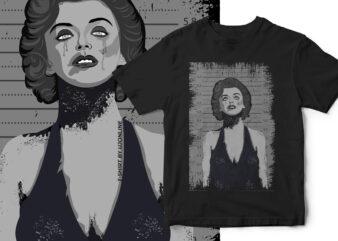Marilyn Monroe Halloween Portrait Horror T-Shirt Design