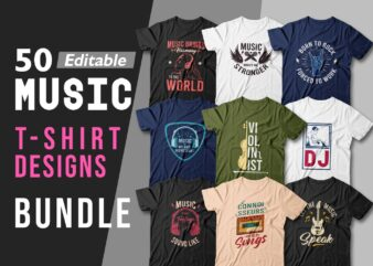 Music t-shirt Designs Bundle editable, Music T shirt, Vector t shirt design, Music, Dj, Musician t shirt, t shirt design quotes, print on demand, pack,