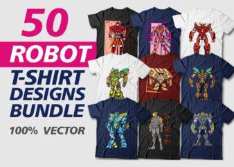 50 Robot t shirt design bundle, Robot vector, sublimation, character, Illustration, cartoon, transformer, svg, png, pod,