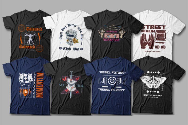 Urban streetwear t shirt design bundle, streetwear tshirt design, creative t shirt design quotes and slogans, trendy, t shirt design for pod, svg, png