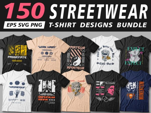 Urban streetwear t shirt designs vector bundle, cool t shirt design, t shirt design for pod, svg, png,
