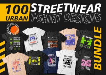 Urban streetwear t shirt design bundle, T-shirt design vector packs, Urban t shirt designs, T-shirt design quotes, Mega bundle, Slogans, Creative, Quotes, Typography, Illustration, Svg, Png, Pod,