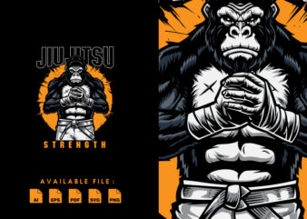 Jiu Jitsu Gorilla Strength T-shirt Design