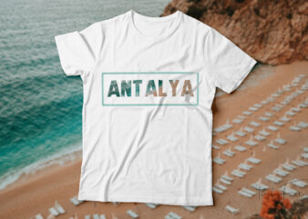 Antalya beach t-shirt design for sale.