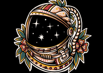 Astronaut in traditional style ilustration design