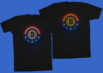 Bitcoin Hero vector illustration, American bitcoin t shirt design, Cryptocurrency vector design, Bitcoin svg png, Bitcoin t shirt design for sale