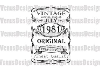 July 1981 Birthday Vintage Limited Edition Editable Design
