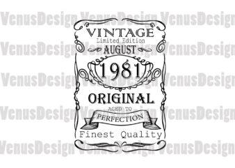 August 1981 Birthday Vintage Limited Edition Editable Design