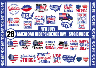 4th July, American Independence Day T-Shirt Bundle, 4th of July, t-shirt designs, america, merica, american dude, american vectors, 4th July Svgs, peace love america, pack of 28 t-shirt designs, Instant Download