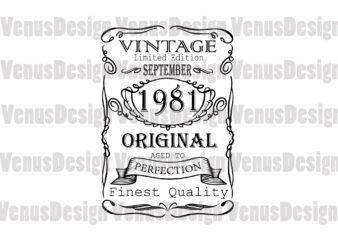 September 1981 Birthday Vintage Limited Edition Editable Design