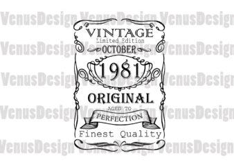 October 1981 Birthday Vintage Limited Edition Editable Design
