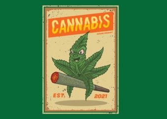 cannabis riding a cigarette,premium vector