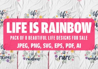 Life is Rainbow| pack of beautiful designs for sale.