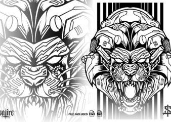 Lion Mecha Cyborg Silhouette