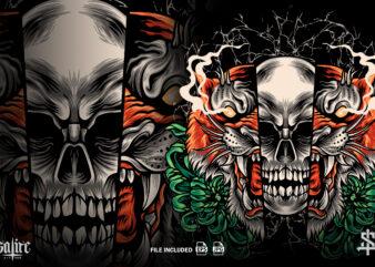 Tiger And Skull Illustration