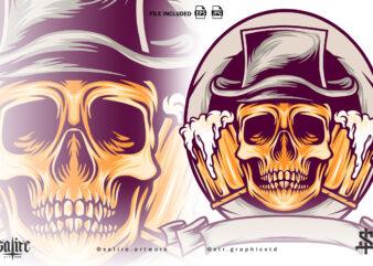 Skull With Beer Mascot Illustration