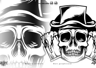 Skull With Beer Mascot Silhouette