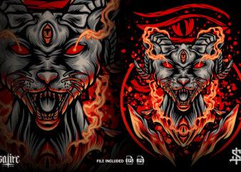 Egyptian Satanic Cat Illustration