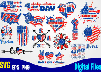 16 designs bundle 4th july, Independence day, 4th of July svg, USA svg, USA Flag, Stars and Stripes, Patriotic, America, Independence Day design svg eps, png files for cutting machines and print t shirt designs for sale t-shirt design png