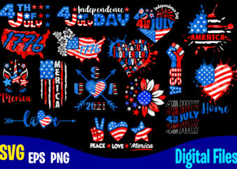 16 designs bundle, 4th of July Independence day for print on dark, USA svg, USA Flag, Stars and Stripes, Patriotic, America, Independence Day design svg eps, png files for cutting machines and print t shirt designs for sale t-shirt design png