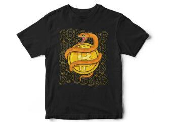 Snake Bitcoin, Logo, illustration, t-shirt design, CryptoCurrency, Crypto T-Shirt, Crypto vector Design, Trader, Bitcoin