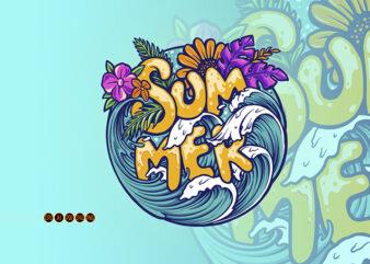 Summer Sea Wave Tropical Beach Illustrations