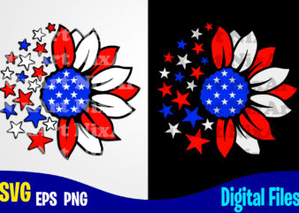 Sunflower svg, 4th july, USA Flag, Independence Day design svg eps, png files for cutting machines and print t shirt designs for sale t-shirt design png