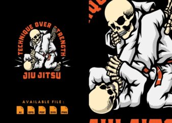 Skull Jiu Jitsu tshirt design
