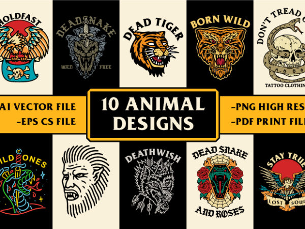 10 Animal Designs / Traditional Tattoo Art