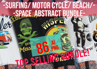 Space / Beach / Surfing / Motor Cycle / Chopper / Bicicle / Surf Board / Skull/ Raceing / Diver / Anchor/ Abstract Bundle