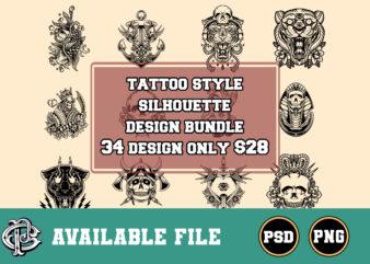 tattoo style silhouette design bundle