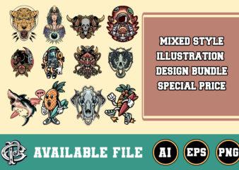 mixed style illustration design bundle