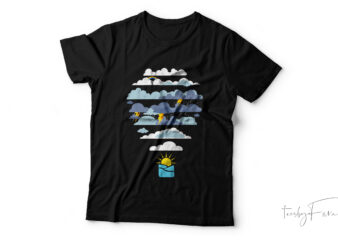 cloudy balloon cool| vector t-shirt design for sale.