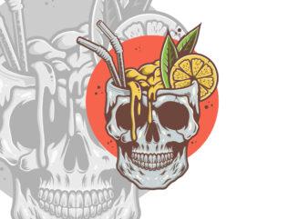 FRESH DRINK SKULL T-shirt Design