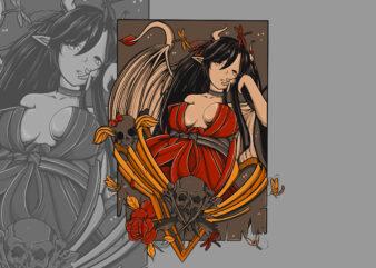 Kawai Character girl T-shirt Design