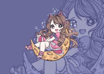 Kawai Cute girl T-shirt Design
