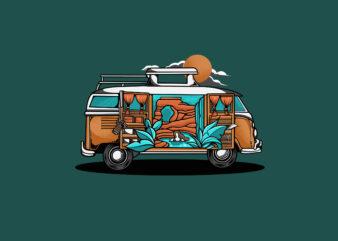 Adventure Volkswagen Car T-shirt Design