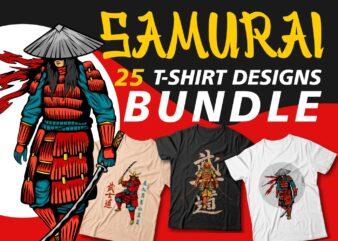 Samurai t shirt design bundles for sale, samurai vector art, japanese t-shirt design, cool samurai illustration, t shirt design vector packs, svg, png, pod,