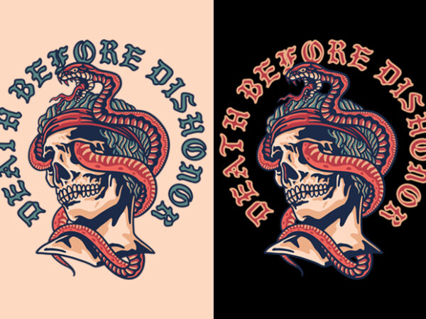 Dead Apollo with Snake on Head / Traditional Tattoo Style Art t shirt vector illustration