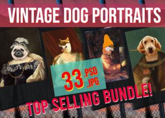 Vintage Animal Portraits / Funny Animal Portraits / Funny Animal Bundle / Dog Portraits/ PSD + JPG