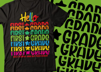 hello first grade repeated colorful style tshirt bundle form 1st to 9th grade | teacher typography design